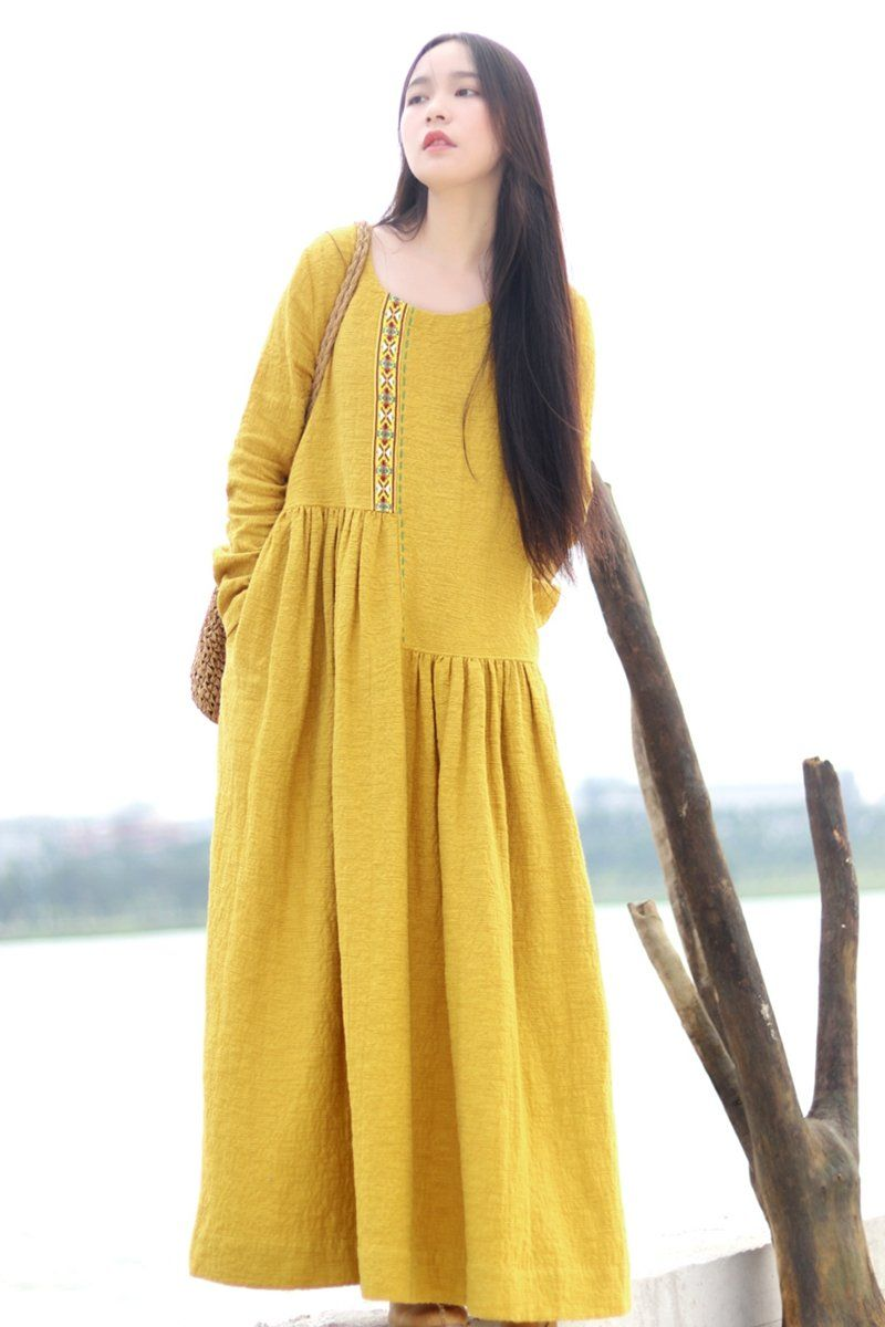 Embroidered Linen Dresses Long Sleeve Linen Caftans Gown For Fall Wint