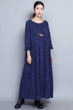 Flower Long Sleeve Casual Maxi Dresses Women Clothes in Blue 8007