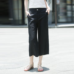 Summer Linen Ankle Length Pants For Women P5541