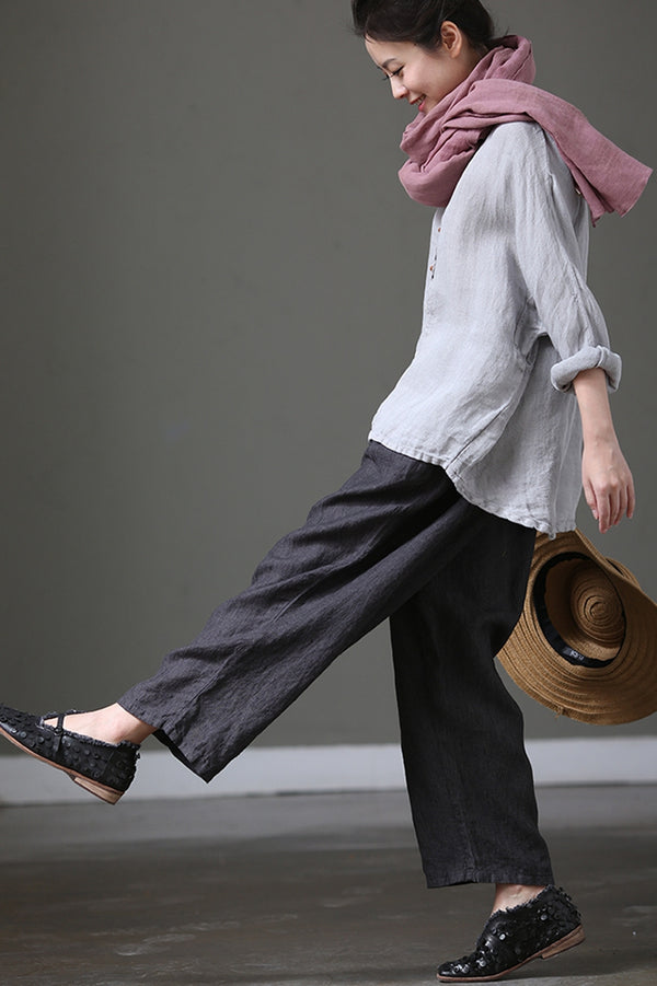 Loose Stripe Cotton Linen Big Size Casual Pants Women Clothes K1008 - FantasyLinen