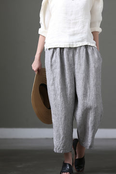 Loose Stripe Cotton Linen Big Size Casual Pants Women Clothes K1008