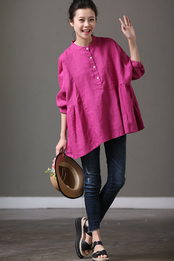 Rose Red Cotton Linen Bat Sleeve Top Lovely Shirt Summer and Spring For Women C1017