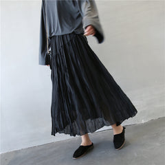 Spring and Summer Cotton Linen Long Skirt For Women Q369