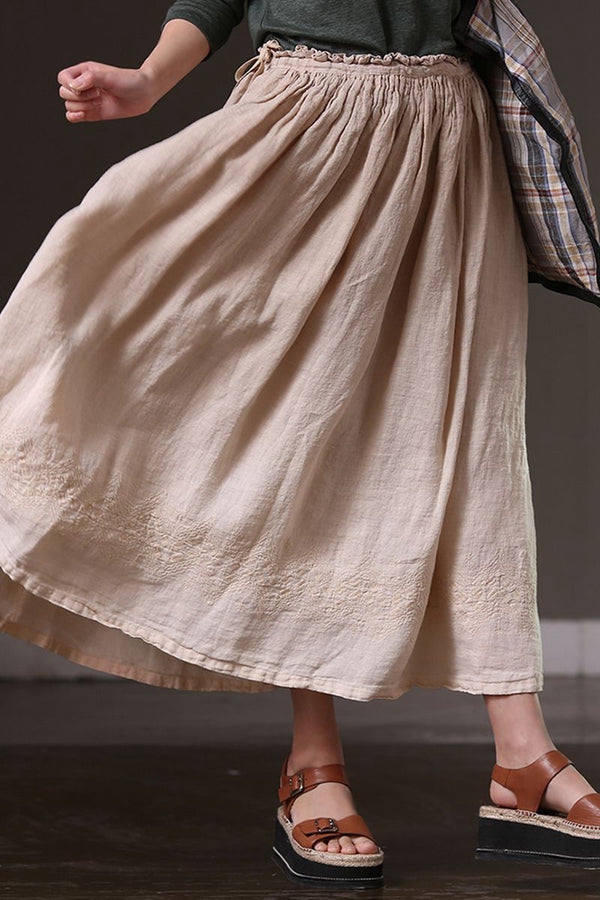 Summer Cotton Linen Long Skirt For Women Q1265 - FantasyLinen
