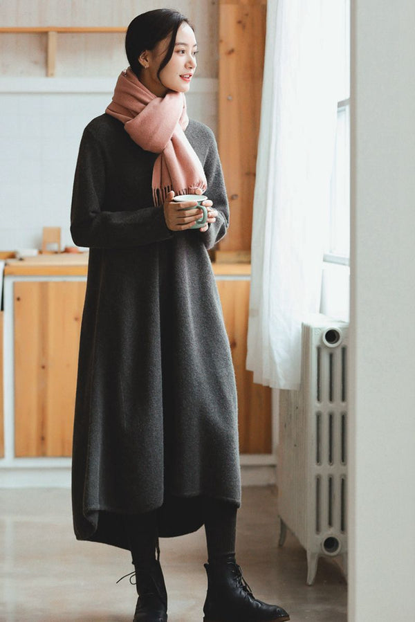 Gray Maxi Loose Wool Knitted Long Sweater Dress in Autumn/Winter Q2731 - FantasyLinen
