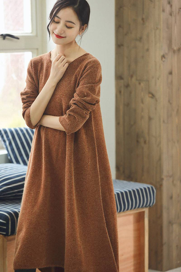 Orange Maxi Loose Wool Knitted Long Sweater Dress in Autumn/Winter Q2731 - FantasyLinen
