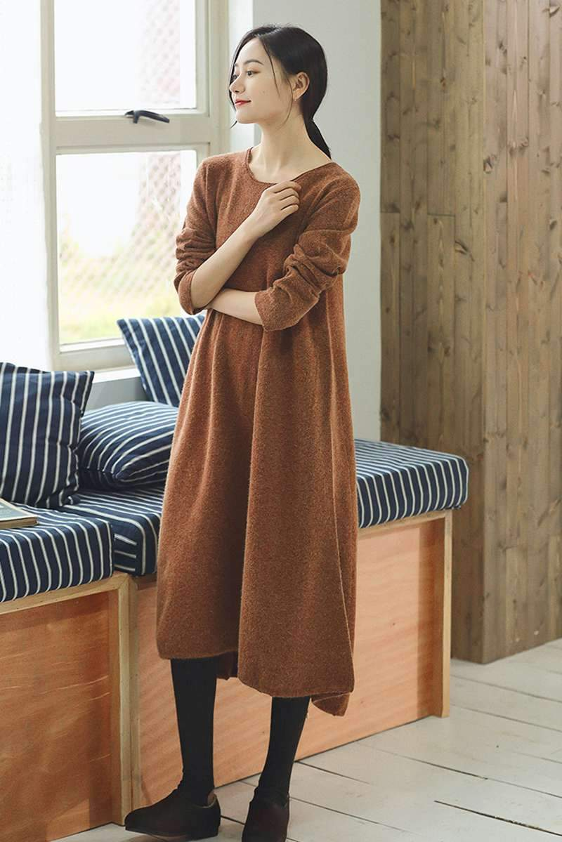 Orange Maxi Loose Wool Knitted Long Sweater Dress In