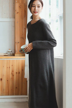 Gray Maxi Loose Wool Knitted Long Sweater Dress in Autumn/Winter Q2731