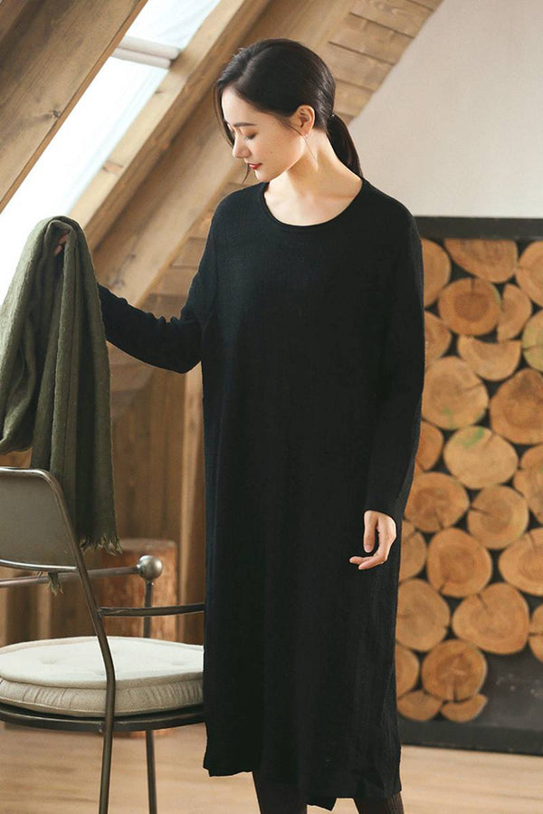 Black Wool Long Women Sweater Dress Outfit Elegant Knit Dresses Q2691 - FantasyLinen
