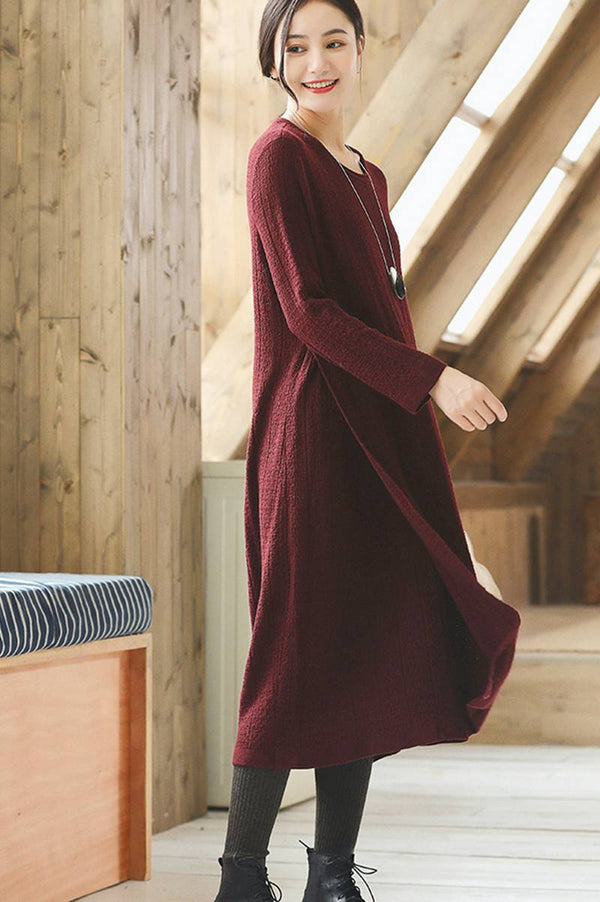 Red Wool Long Women Sweater Dress Outfit Elegant Knit Dresses Q2691 - FantasyLinen