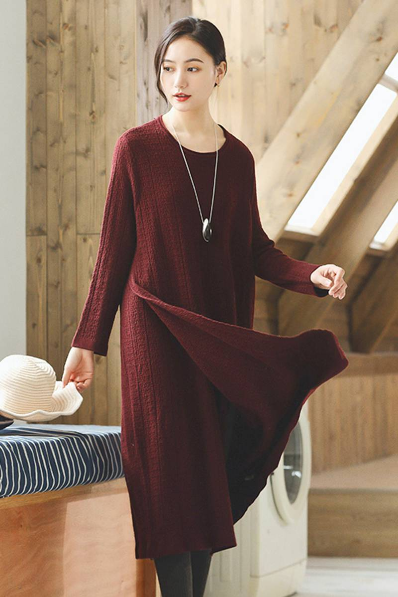 052b4c5337a Red Wool Long Women Sweater Dress Outfit Elegant Knit Dresses Q2691 ...