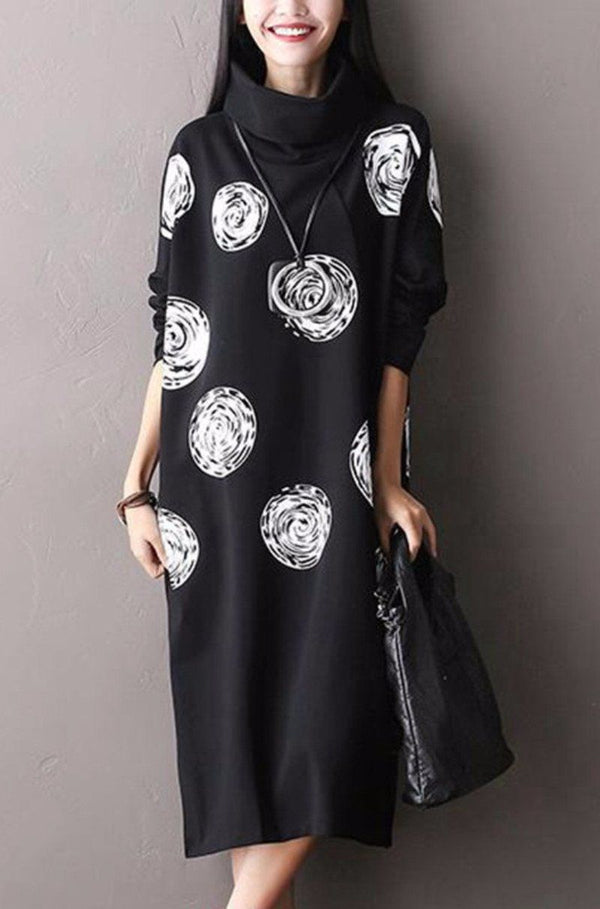 White Dot Black Cotton Big Size  Long Dresses Women Clothes Q0711A - FantasyLinen