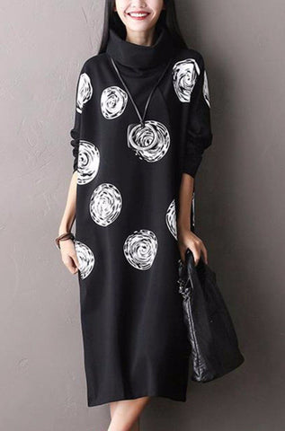 White Dot Black Cotton Big Size  Long Dresses Women Clothes Q0711A