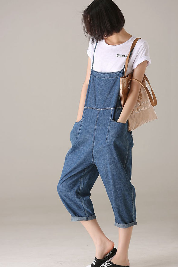 Fashion Blue Denim Overalls Women Cotton Jumpsuit N1907
