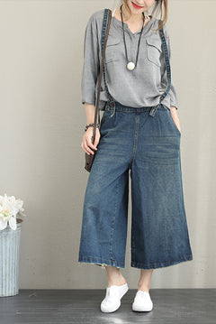 Casual Blue Denim Wide Leg Overall Women Jumpsuit For Autumn Q1359