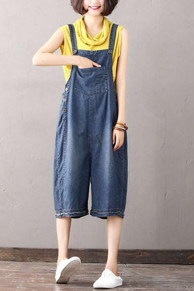 Vintage Casual Denim Overalls Women Blue Jumpsuit K1867