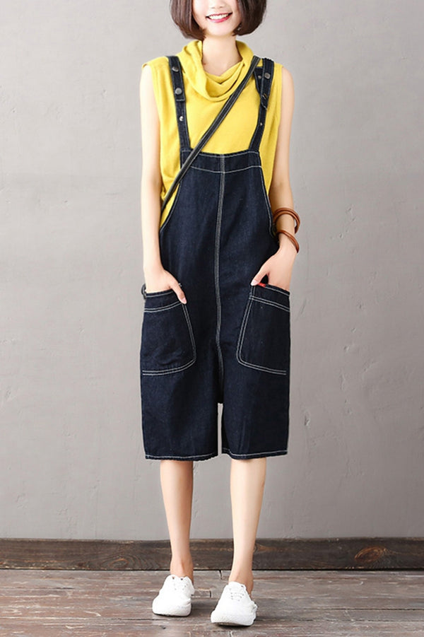 Fashion Black Denim Overalls Women Cotton Short Jumpsuit K1868