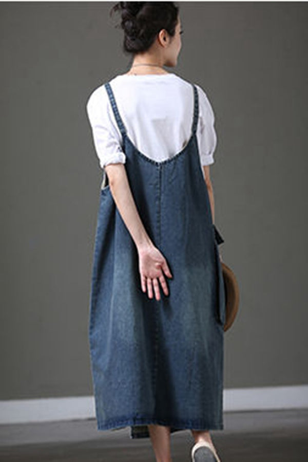 Summer Denim Plus Size A Line Overalls Loose Suspender For Women Q8956 - FantasyLinen