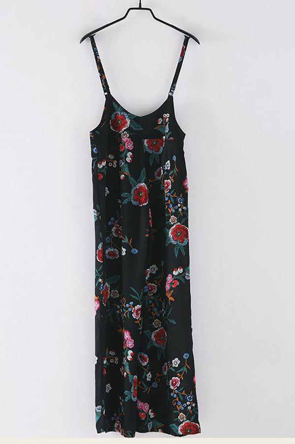 Loose Black Print Chiffon Overalls Women Cute Jumpsuit K7895