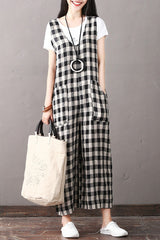 Fashion Black Plaid Cotton Linen Overalls Women Casual Jumpsuit K1861