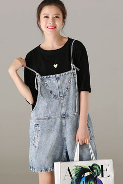 Loose Short Blue Denim Overall Women Casual Jumpsuits N7288