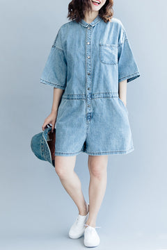 Casual Blue Denim Overalls Women Cotton Jumpsuit K2071