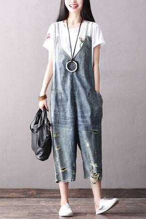 Vintage Blue Denim Overalls Women Casual Clothes K1866
