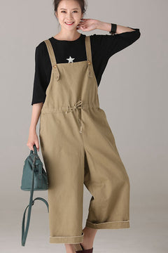 Loose Cotton Overalls Women Summer Jumpsuit K9001