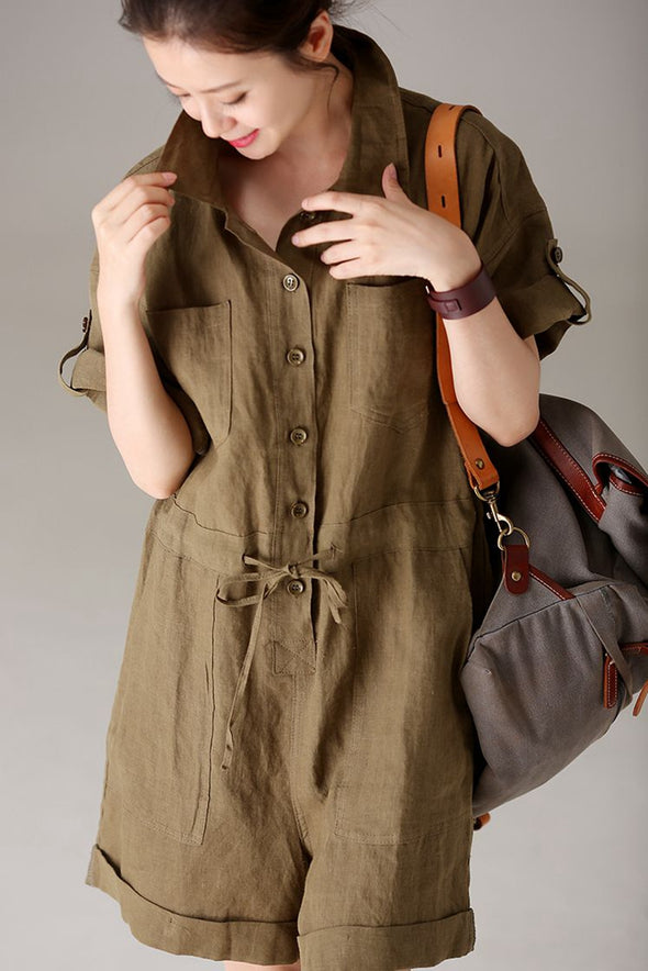 Casual Green Cotton Linen Overalls Women Short Jumpsuit K5990