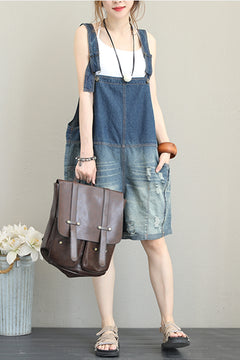 Vintage Casual Blue Denim Overalls Women Jumpsuit Q1301