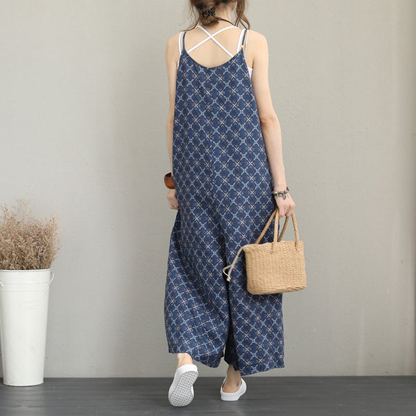 Cute Print Wide Leg Blue Overalls Women Linen Clothes Q1192