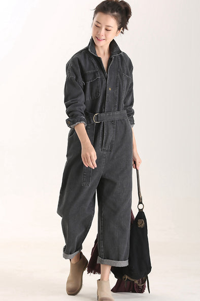 Women Black Denim Overalls Casual Cotton Suspender N1199