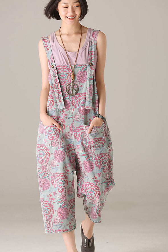 Casual Red Print Overalls Women Fashion Jumpsuit K2531