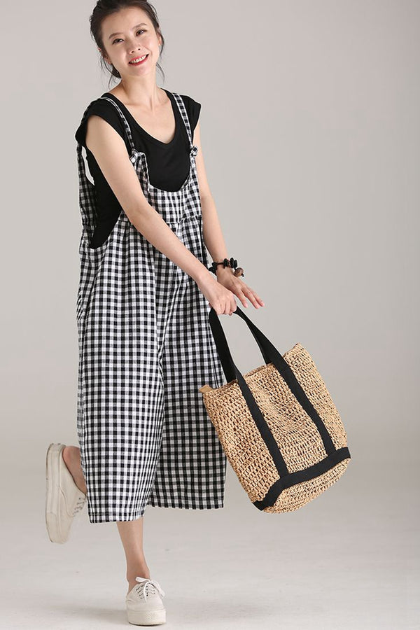 Plus Size Black Plaid Cotton Linen Overalls Women Loose Jumpsuit K5112
