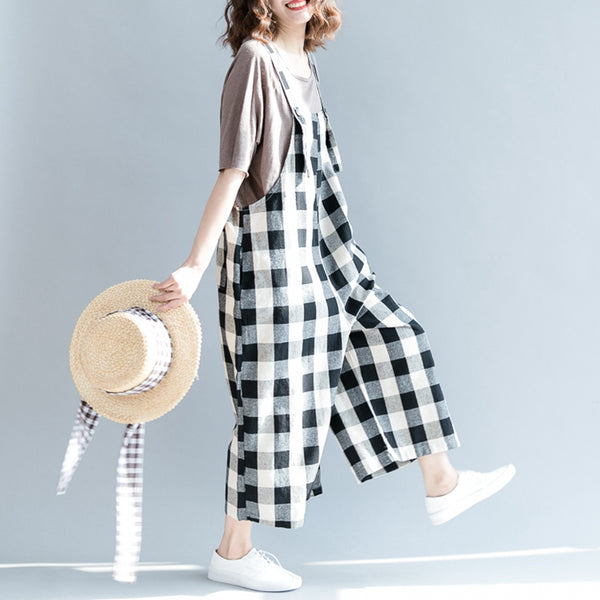 Summer Plaid Cotton Linen Overalls Women Loose Jumpsuit K9071