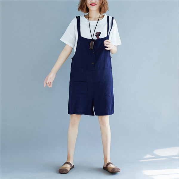 Casual Blue Cotton Linen Overalls Women Loose Jumpsuit K1676