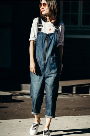 Casual Blue Denim Overalls Women Cotton Jumpsuit N8919