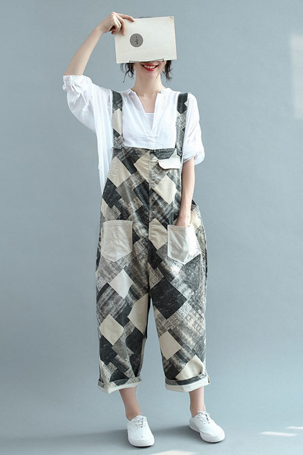Women Casual Cotton Overalls Loose Jumpsuits For Women K2345