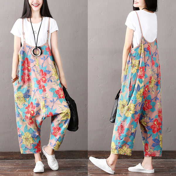 National Casual Floral Overalls Women Cotton Clothes K1862