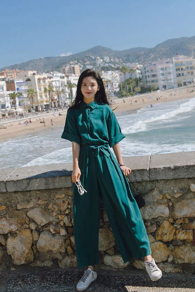 Korean Style Casual Wide Leg Student Overalls Summer Jumpsuits For Women K1453
