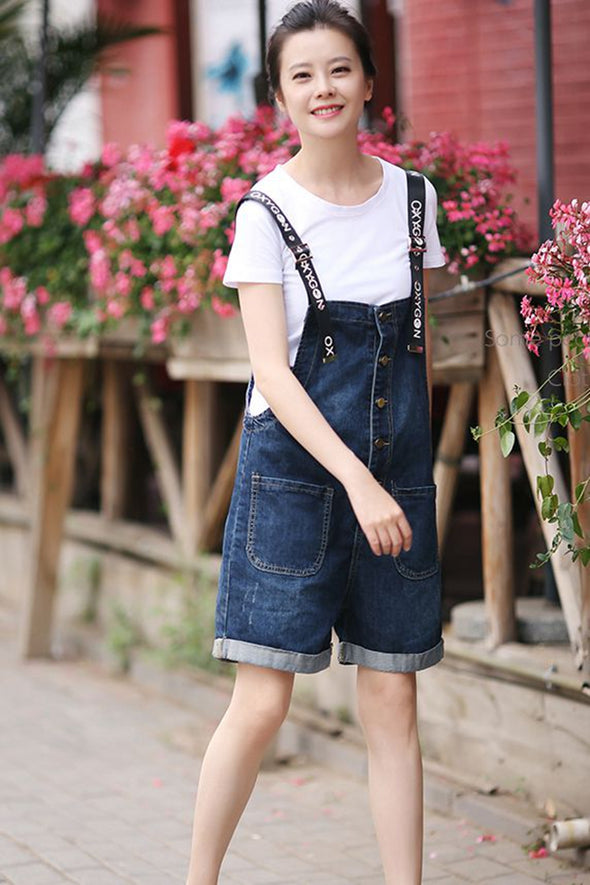 Summer Casual Printed Black Denim Short Overalls Women Jumpsuit N2807