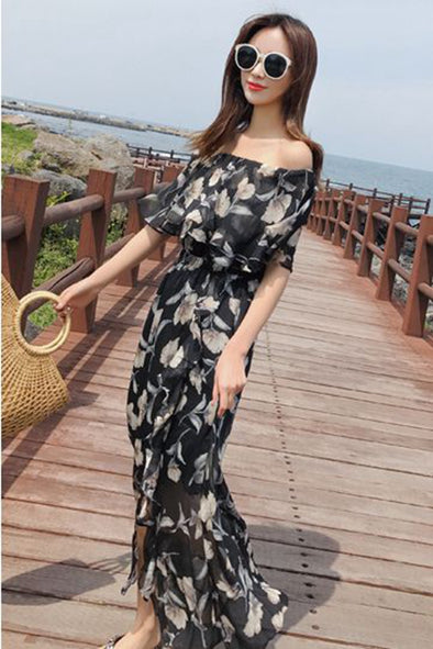 Elegant Floral Chiffon Off Shoulder Overalls Student Jumpsuits For Women K1459