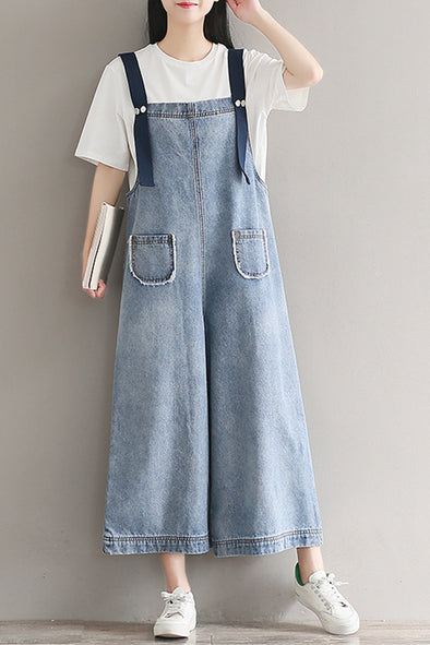 Plus Size Wide Leg Blue Denim Overalls Jumpsuits For Women K2851