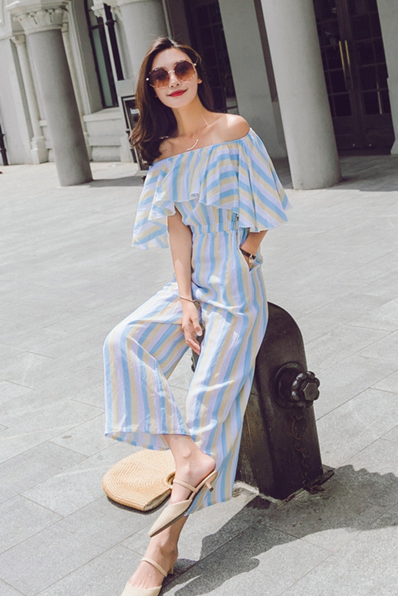 31c89339883f Fashion Striped Off Shoulder Student Overalls Wide Leg Jumpsuits For Women  K1456