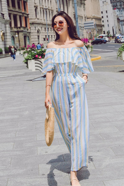 48b09a24e02a Fashion Striped Off Shoulder Student Overalls Wide Leg Jumpsuits For ...
