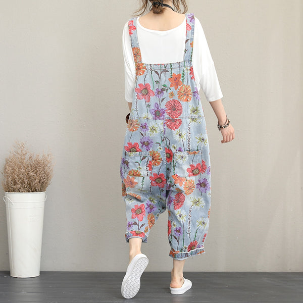 Summer Casual Floral Print Denim Overalls Women Cotton Jumpsuit Q1179