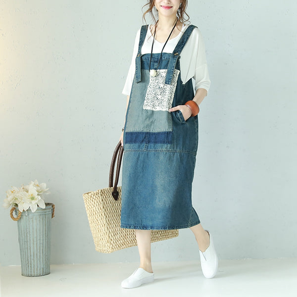 Vintage Lace Blue Denim Sundress Women Summer Clothes Q1100
