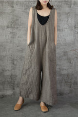 Vintage Striped Wide Leg Linen Overalls Women Jumpsuits For Women K7057