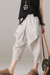 Loose Striped Harem Pants Women Cotton Linen Trouser K2079