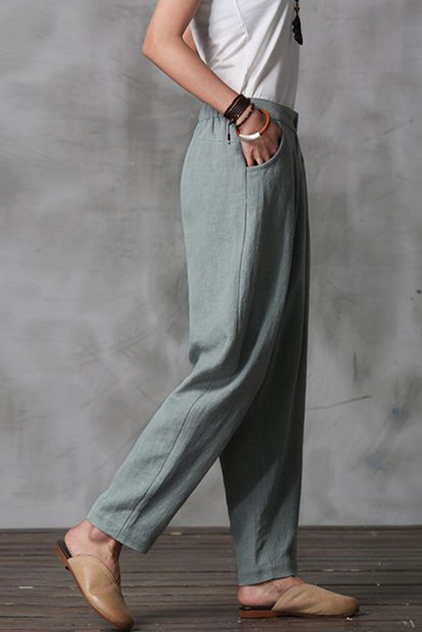 Women Long Cotton Linen Pencil Pants Loose Turnip Pants K7052